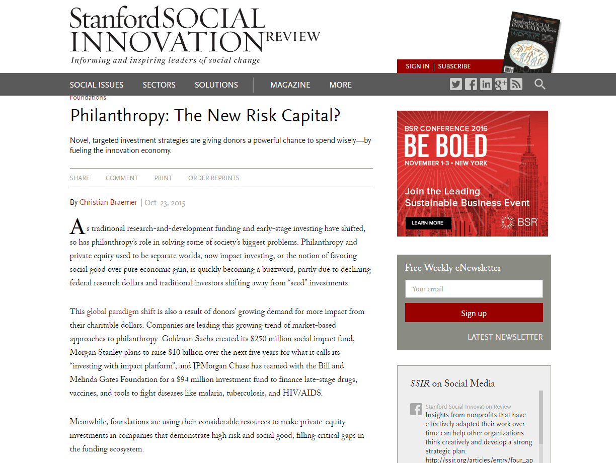 Philanthropy: The New Risk Capital?