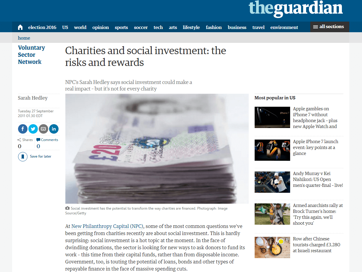 Charities and Social Investment: The Risks and Rewards