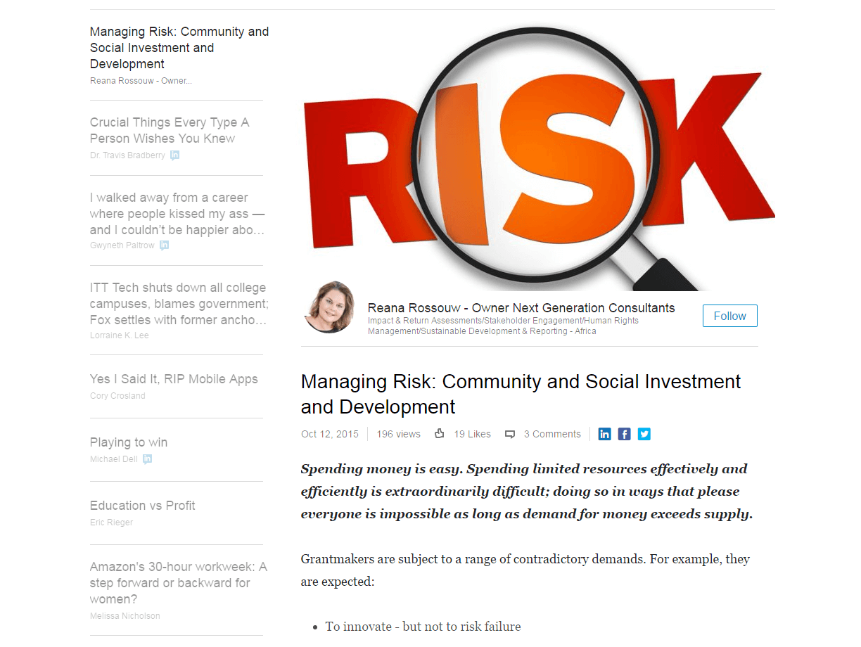 Managing Risk: Community and Social Investment and Development