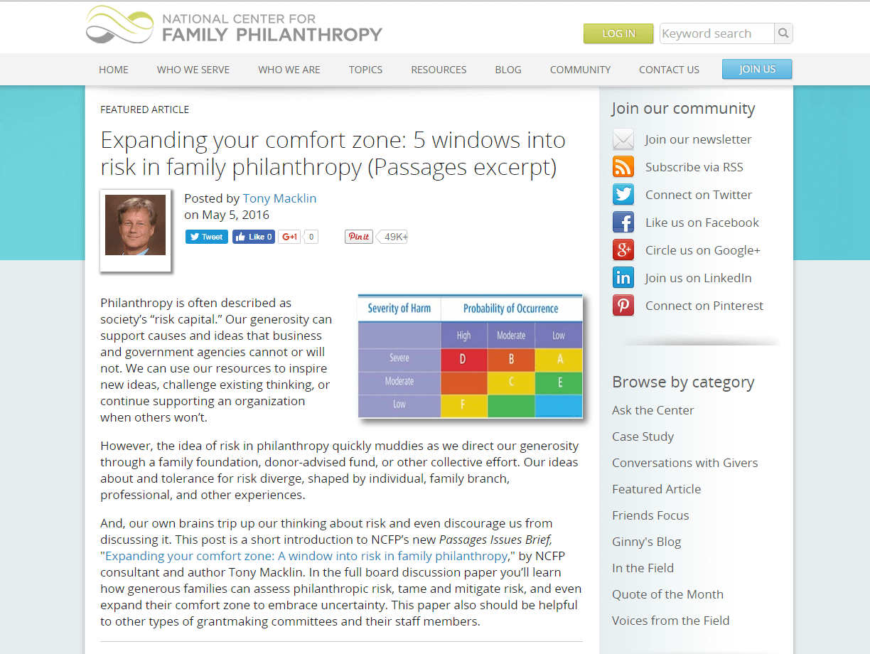 Expanding Your Comfort Zone: 5 Windows into Risk in Family Philanthropy