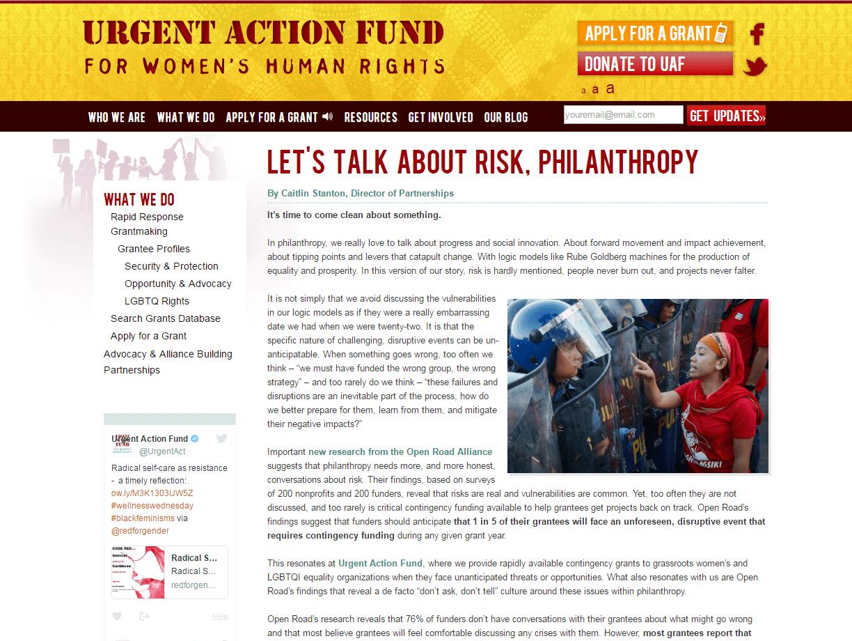Let's Talk about Risk, Philanthropy
