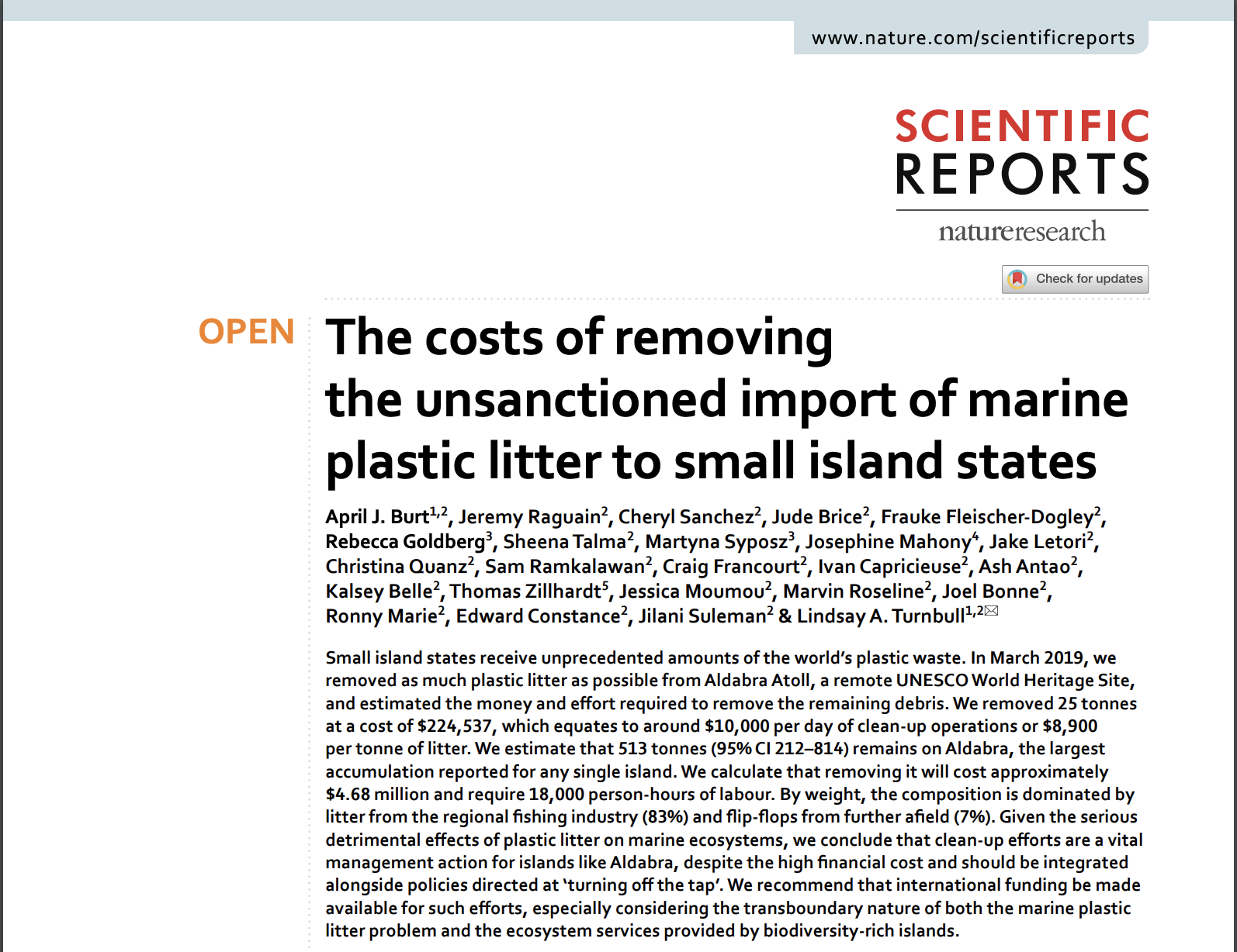 The Costs Of Removing The Unsanctioned Import Of Marine Plastic Litter To Small Island States